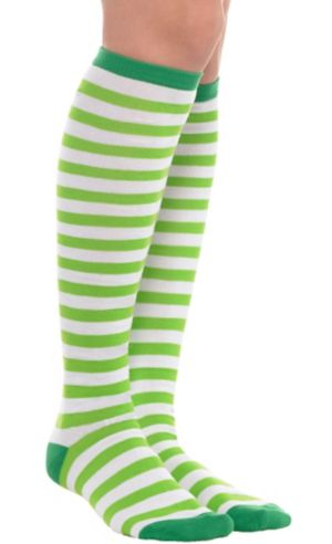 Green and White Striped Knee-High Socks