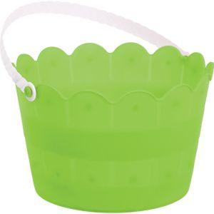 Kiwi Green Plastic Scalloped Easter Bucket