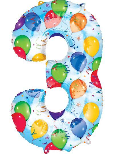 Number 3 Balloon - Celebration