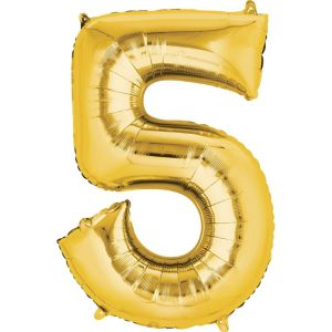 Number 5 Balloon - Gold