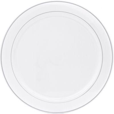 Silver Trimmed White Plastic Platter