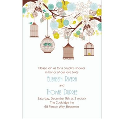 Custom Lovebird Cages Bridal Shower Invitations