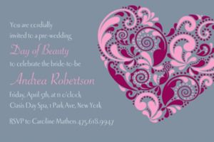 Custom Big Heart Bridal Shower Invitations