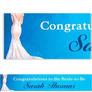 Custom Bride in Gown Light Bridal Shower Banner 6ft