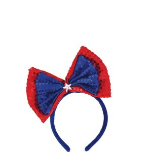 Sequin Patriotic Red, White & Blue Bow Headband