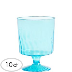 Mini Caribbean Blue Plastic Pedestal Cups 10ct