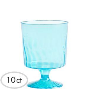 Mini Caribbean Blue Plastic Pedestal Cups 10ct