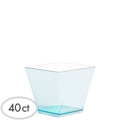 Mini Caribbean Blue Plastic Cubes 40ct