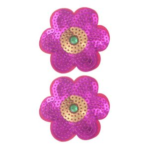 Pink Sequin Flower Hair Clips 2ct