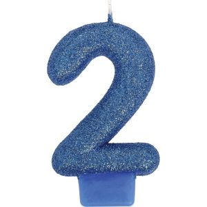 Glitter Royal Blue Number 2 Birthday Candle