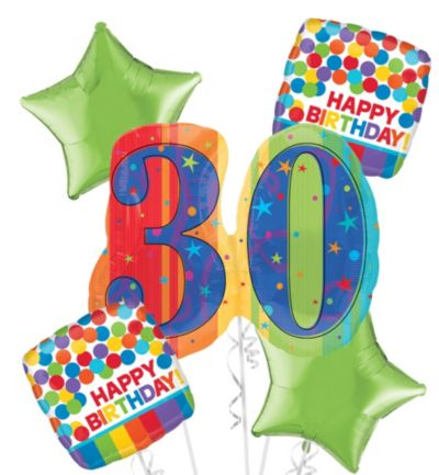 30th Birthday Balloon Bouquet 5pc - A Year to Celebrate