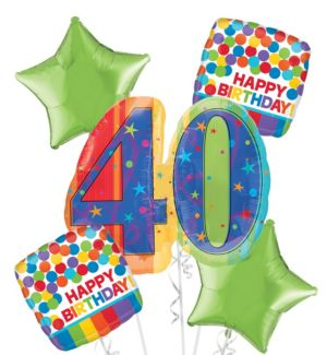 40th Birthday Balloon Bouquet 5pc - A Year to Celebrate