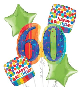 60th Birthday Balloon Bouquet 5pc - A Year to Celebrate