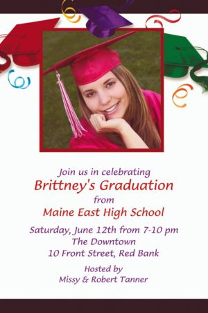 Custom School's Out Graduation Photo Invitations