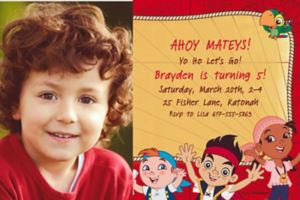 Custom Jake and the Neverland Pirates Photo Invitations