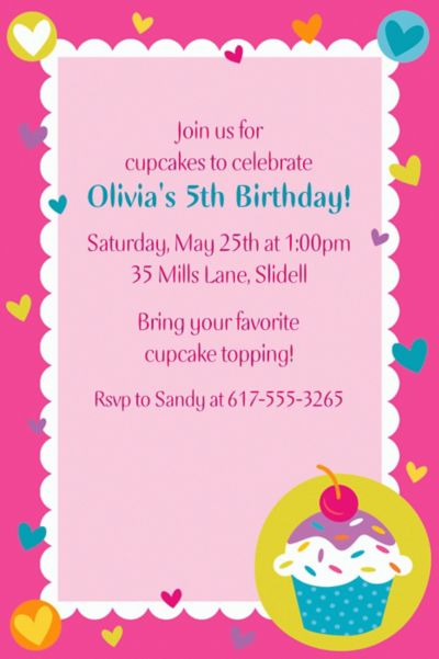 Custom Cupcake Party Invitations