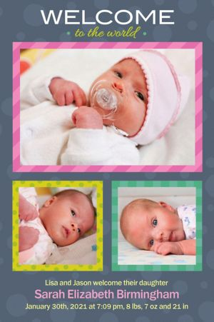 Custom Welcome to the World Girl Photo Announcement