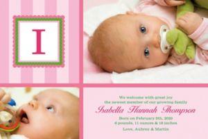 Custom Jumbo Initial Girl Photo Announcement