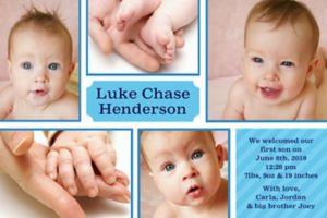 Custom Sweet Photo Collage Boy Photo Announcement