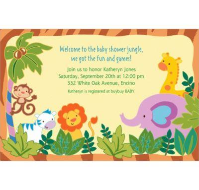 custom jungle baby shower invitations party city