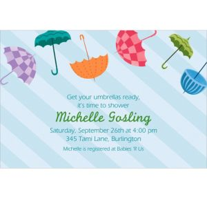 Custom Umbrella Baby Shower Invitations