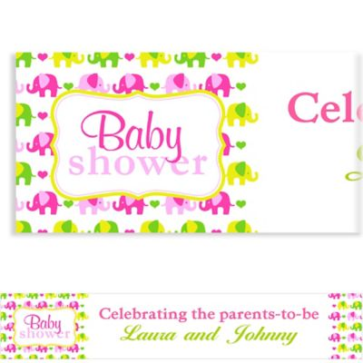 Custom Baby Elephant Pattern Girl Baby Shower Banner 6ft