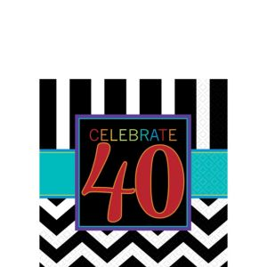 Celebrate 40th Birthday Beverage Napkins 16ct