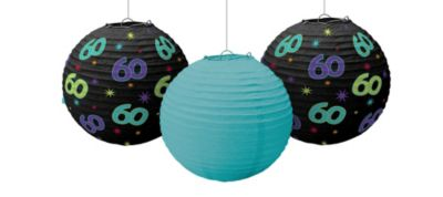 The Party Continues 60th Birthday Paper Lanterns 3ct