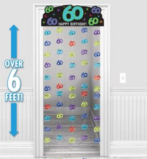 The Party Continues 60th Birthday Doorway Curtain 77in