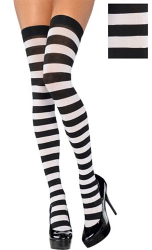 Adult Black and White Thigh-High Stockings