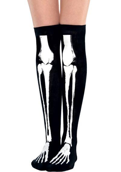 Black Bone Over-the-Knee Socks - Skeleton