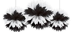 Black & White Fluffy Decorations 3ct