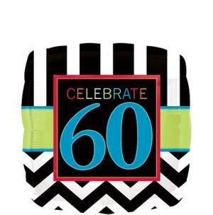 60th Birthday Balloon - Square Chevron