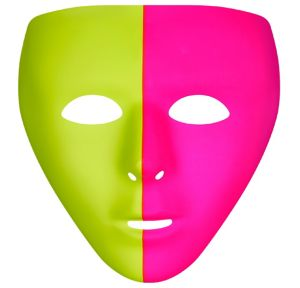 Basic Black Light Neon Pink & Green Face Mask