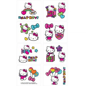 Rainbow Hello Kitty Tattoos 1 Sheet