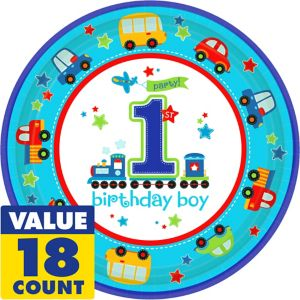 All Aboard 1st Birthday Lunch Plates 18ct