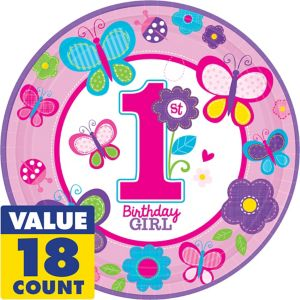 Sweet Girl 1st Birthday Lunch Plates 18ct