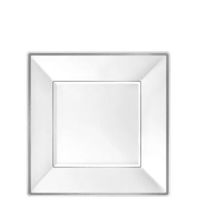 White Silver Trimmed Premium Square Dessert Plates 8ct