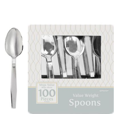 Silver Look Spoons 100ct
