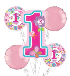 1st Birthday Balloon Bouquet 5pc - Sweet Girl