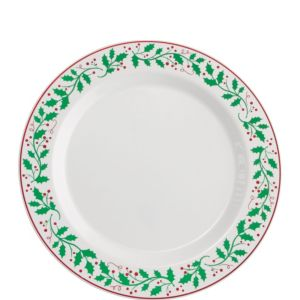 Christmas Holly Premium Plastic Lunch Plates 20ct