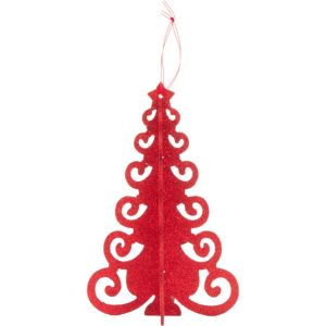 3D Red Glitter Christmas Tree Centerpiece