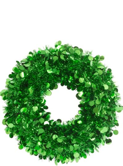 Green tinsel wreath in party city