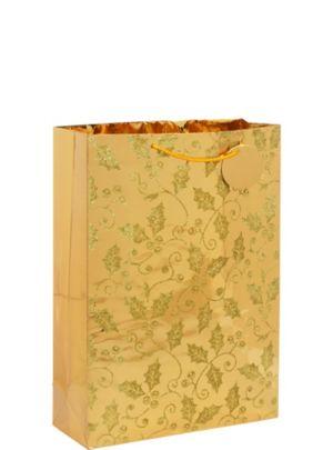 Gold Glitter Holly Christmas Gift Bag