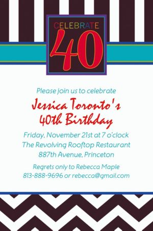 Custom 40th Celebration Invitations