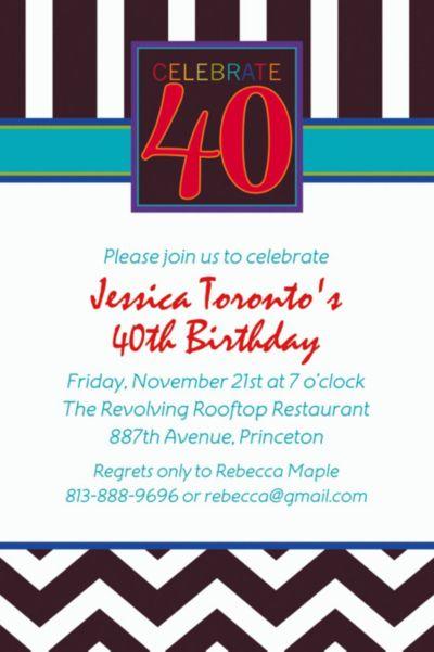 Custom 40th Celebration Invitations