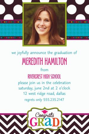 Custom Bright Congrats Grad Photo Invitations