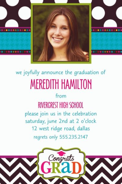 Custom Bright Congrats Grad Photo Invitations