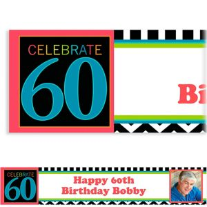 Custom 60th Celebration Photo Banner 6ft