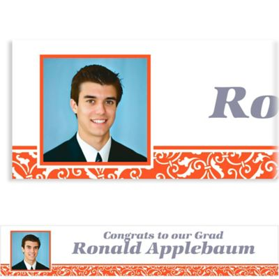 Custom Orange Ornamental Scroll Photo Banner 6ft